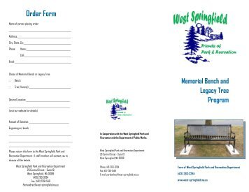 Memorial Bench and Legacy Tree Program - West Springfield