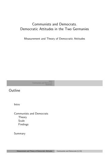 Communists and Democrats. Democratic Attitudes ... - Kai Arzheimer