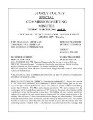 STOREY COUNTY SPECIAL COMMISSION MEETING MINUTES
