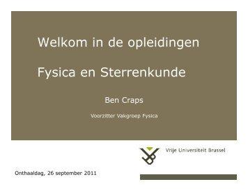 Welkom in de opleidingen Fysica en Sterrenkunde - Faculteit ...