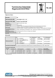 Regelventile Datenblatt - Arca-Regler GmbH