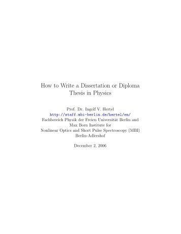 How to Write a Dissertation or Diploma Thesis in Physics