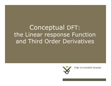 Conceptual DFT: - Vrije Universiteit Brussel