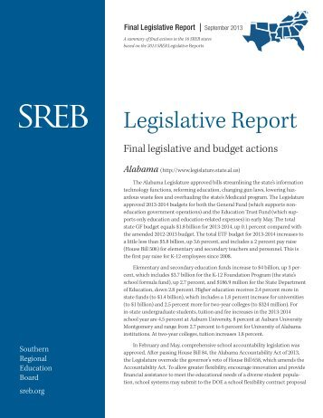 Final Legislative Report - Southern Regional Education Board