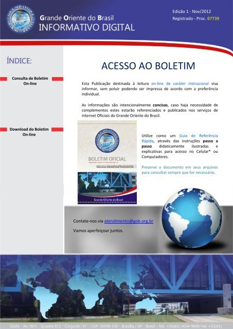 ACESSO AO BOLETIM - Grande Oriente do Brasil