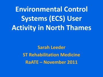 Environmental Control Systems (ECS) User Activity in North Thames