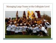 Managing Large Teams at the Collegiate Level - USTFCCCA
