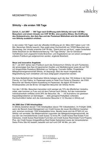 MEDIENMITTEILUNG Sihlcity – die ersten 100 Tage