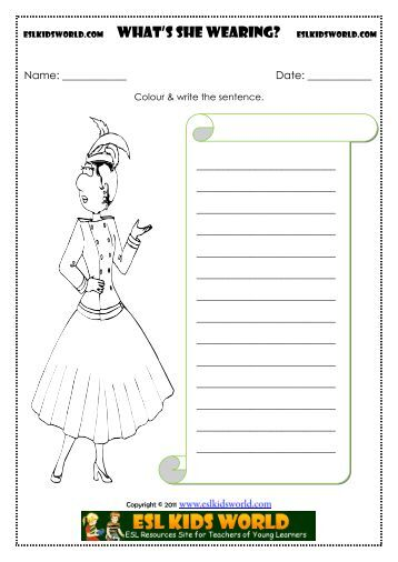 Clothes - What is he/she Wearing Worksheet - ESL Kids World