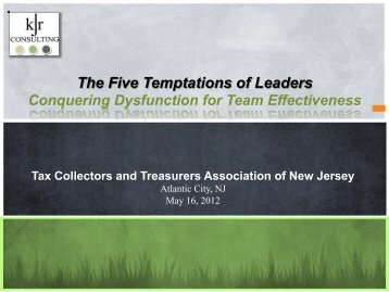 The Five Temptations of Leaders - the TCTANJ