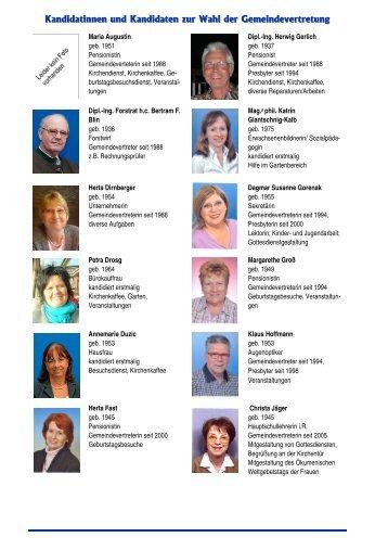 Kandidatinnen und Kandidaten zur Wahl der Gemeindevertretung
