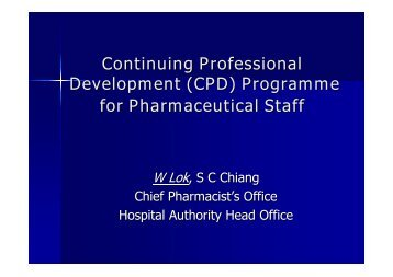 (CPD) Programme for Pharmaceutical Staff