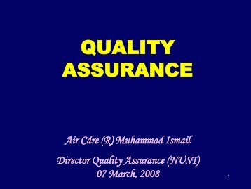 quality assurance - National University of Science and Technology