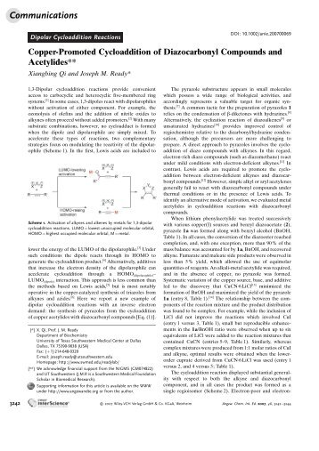 Copper-Promoted Cycloaddition of ... - UT Southwestern