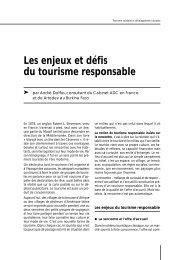 Les enjeux et défis du tourisme responsable - Le tourisme solidaire