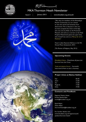 newsletter TH Jan 13.indd - Majlis Khuddamul Ahmadiyya UK