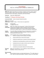 Course Syllabus MEDT 301. INTRODUCTION TO MEDICAL ...