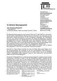 12. Berliner Steuergespräch - Berliner Steuergespräche eV