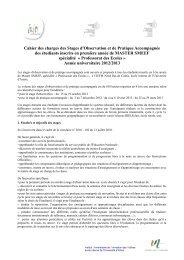 Cahier des charges des Stages d'Observation et de Pratique ... - IUFM