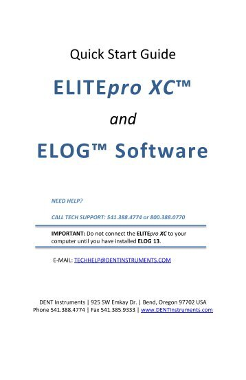 ELITEpro XC/ELOG 13 Quick Start Guide - DENT Instruments