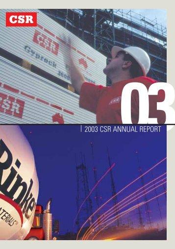2003 CSR ANNUAL REPORT