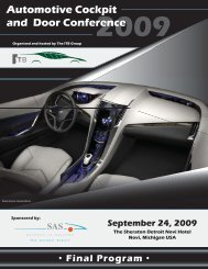 Automotive Cockpit and Door Conference - The ITB Group