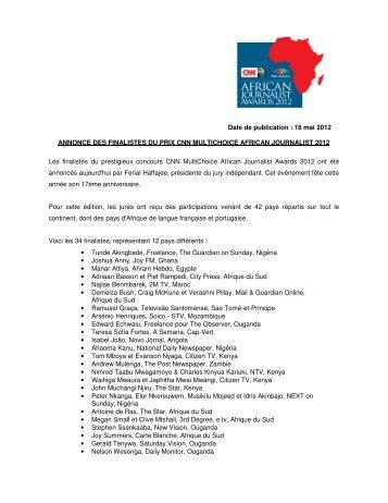 Date de publication : 18 mai 2012 ANNONCE DES FINALISTES DU ...