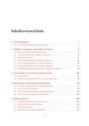 Inhaltsverzeichnis - Automaten und Formale Sprachen