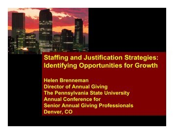 Staffing and Justification Strategies - Supporting Advancement