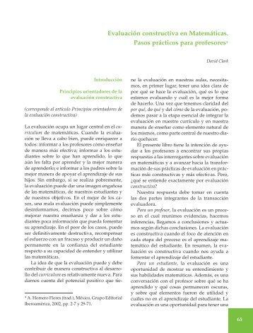 Evaluación constructiva en Matemáticas. Pasos prácticos para ...