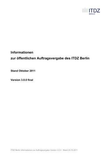 Informationen zur öffentlichen Auftragsvergabe des ITDZ Berlin