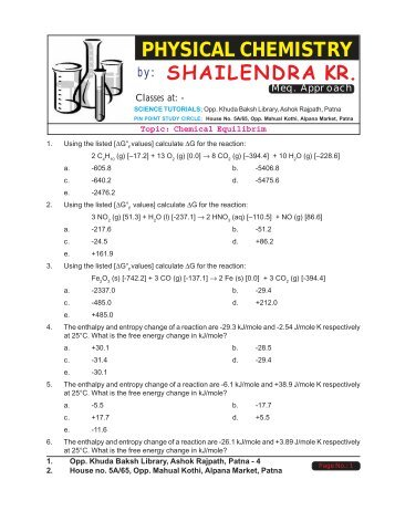A.P. Chemistry Practice Test - Ch. 13: Equilibrium ...