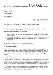 Børne- og ungdomsorganisationernes SAMRÅD i Århus Sport ...