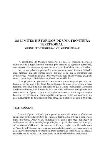 os limites históricos de uma fronteira territorial - Lusotopie