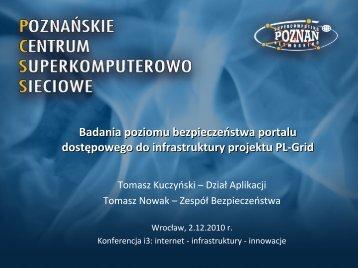 Badania poziomu bezpieczeństwa portalu ... - Projekt PL-Grid