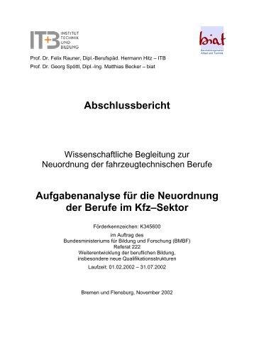 Abschlussbericht Aufgabenanalyse für die Neuordnung der Berufe im