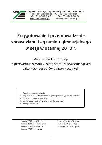 Broszura z konferencji - Okręgowa Komisja Egzaminacyjna