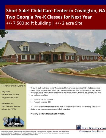 Short Sale! Child Care Center in Covington, GA Two ... - Bull Realty