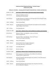Academy of Dental Materials Meeting 2009 - final agenda - 11-22-08