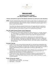 MEDIA FACT SHEET THE KAHALA HOTEL & RESORT CHI HEALTH
