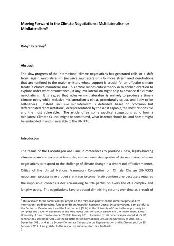 Robyn Eckersley Paper - CAPPE. Centre For Applied Philosophy ...