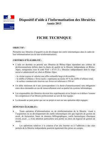 Dispositif d'aide à l'informatisation des librairies Année 2013 - Arald