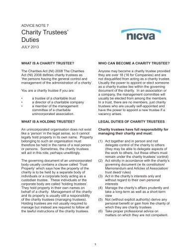 Charity Trustees' Duties - Nicva