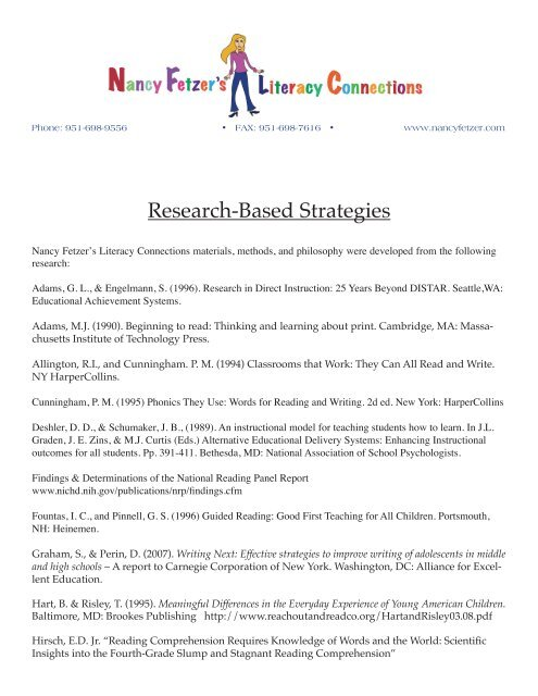 Research Based Strategies To Help >> Research Based Strategies Nancy Fetzer