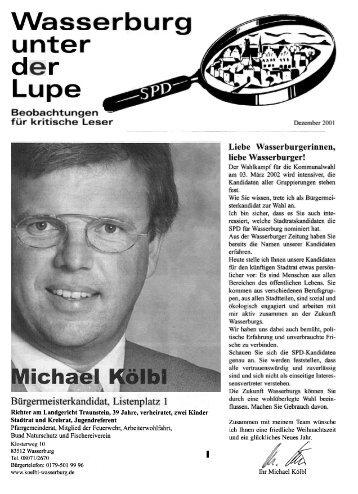 Lupe, Dezember 2001, Bürgermeisterkandidat ... - SPD-Wasserburg