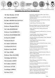 list of Participants - The Europaeum