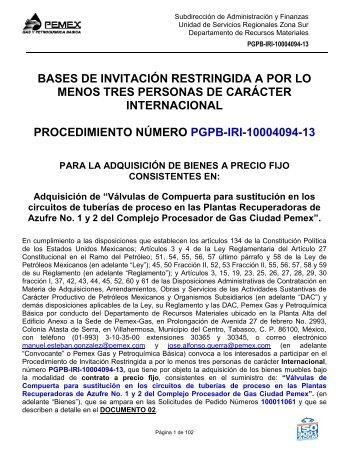 Versión Final Bases Válvulas 903 - Pemex Gas y Petroquímica Básica