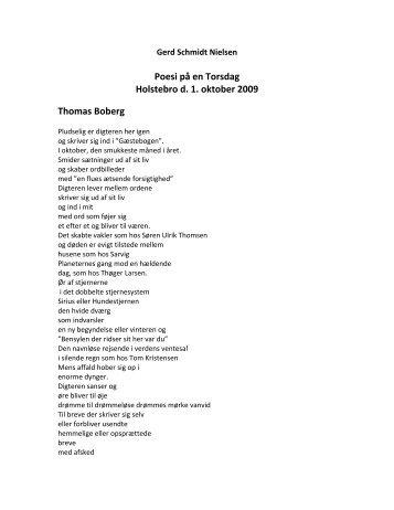Lyrisk essay om Thomas Boberg - Odin Teatret