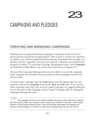 CAMPAIGNS AND PLEDGES - PastPerfect Museum Software