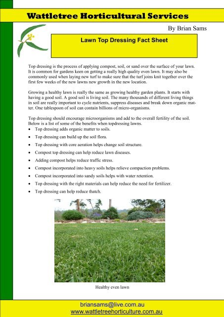 15e047ce87 Lawn topdressing fact sheet - Wattletree Horticultural Services